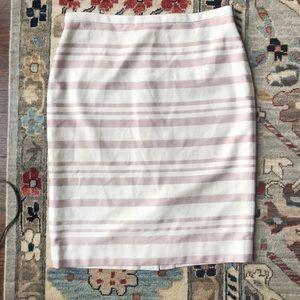 J. Crew Double Stripe Pencil Skirt Ivory/Mauve 12